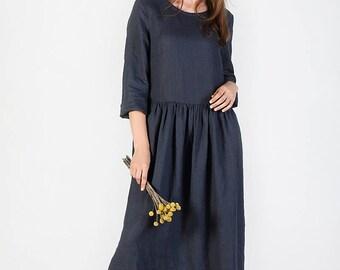 Linen Dress, Natural washed linen dress, Loose linen dress, summer linen dress, maxi linen dress