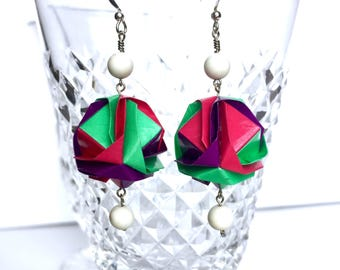 Statements Earrings // Chunky Jewelry // Mod Jewel Tones // Abstract Origami Earrings // Gifts for Her
