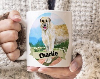 Irish Wolfhound Custom Dog Mug - Get your dogs name on a mug - Dog Breed Mug - Great gift for dog owner - Irish Wolfhound mug