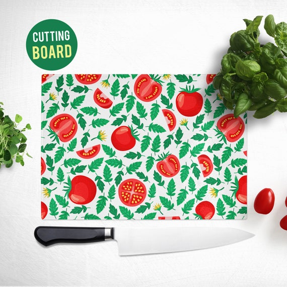 Tempered Glass Cutting Board - Tomato Pattern - Cute Kitchen Decor