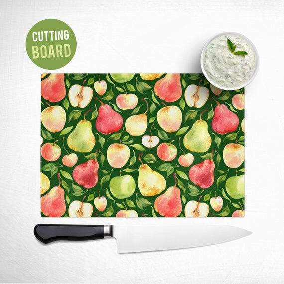 Tempered Glass Cutting Board - Apples and Pears Pattern - Fruit Kitchen Decor