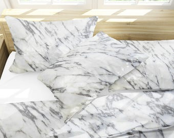Marble bedding set , White Bedding , Marble duvet cover , Marble pillowcases , bedding queen , Marble bedding king , Marble , Pillow Shams