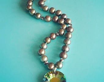 Swarovski and Pearl Knotted Necklace