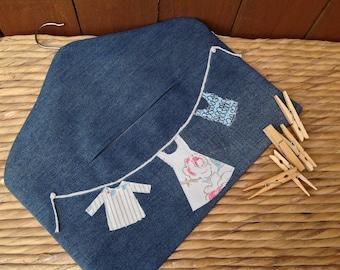 Peg bag, Recycled Denim, denim Peg Bag, Clothespin Bag, peg storage, storage bag, washing day, washday peg bag, fabric peg storage