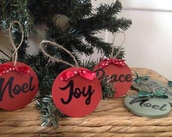 Wooden tree decor, christmas decoration, tree decor, set of 3, Joy, Peace, Noel, hanging decoration, xmas tree ornament, christmas decor