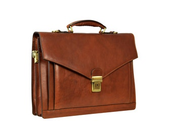Leather Briefcase,Laptop Bag,Handbag,Satchel,Shoulder Bag,mens briefcase,brown leather briefcase,mens leather briefcase-The Magus