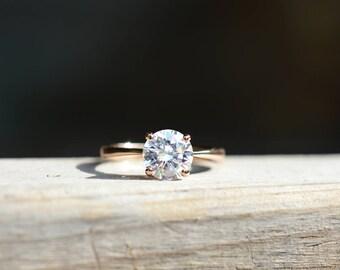 Rose Gold Ring Rose Gold Promise Ring Rose Gold Engagement Ring Gold Promise Ring Diamond Ring Cubic Zirconia Ring CZ Ring 18k Gold