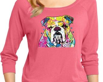 Ladies Neon Bulldog 3/4 Sleeve Scoop Neck 19053NBT2-DM482