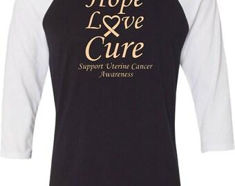 Men's Hope Love Cure Support Uterine Cancer Awareness Raglan Shirt HLC-SUCA-3200