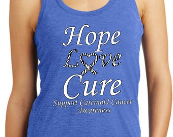 Ladies Tanktop Hope Love Cure Support Carcinoid Cancer Awareness Racerback Tank Top HLC-SCCA-DM138L