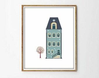 house print, vintage print,retro print, house vintage print, nursery decor,nursery print,wall art print,vintage decor,living room,4 SIZES