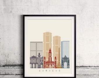 Caracas skyline poster - Fine Art Print Landmarks skyline Poster Gift Illustration Artistic Colorful Landmarks - SKU 2414