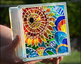 Painted Glass Block / Pop Art Sunflower Gift / Night Light or Sun Catcher / Hand Painted & Recycled / Window Decoration / Garden Ornament