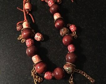 Bohemian Wood Ceramic Necklace