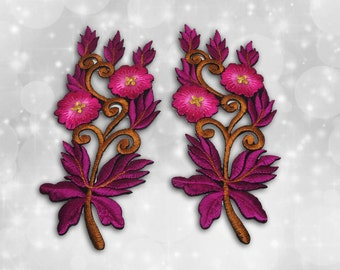 "Flower Iron on Patch (L1), Flower Embroidered Applique Patch, Dress Decoration Appliques-Size 1 3/16""(W)x5 1/2""(H)"