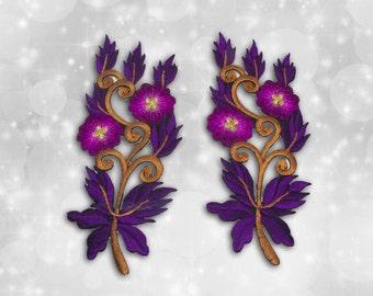 "Flower Iron on Patch (L1), Flower Embroidered Applique Patch, Dress Decoration Appliques-Size 1 3/16""(W)x5 1/2""(H)"