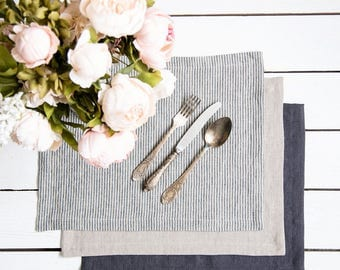Linen stripped placemats Set of 6 -  Softened linen placemat - Ready to ship