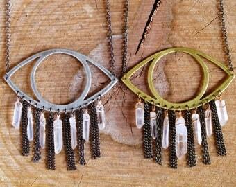 metalwork quartz crystal fringe eye necklace: all-seeing necklace NK406