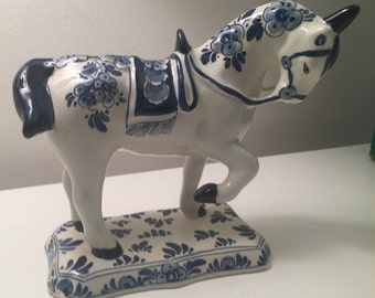 Vintage Delft Blue Horse Figurine Hand Painted Holland