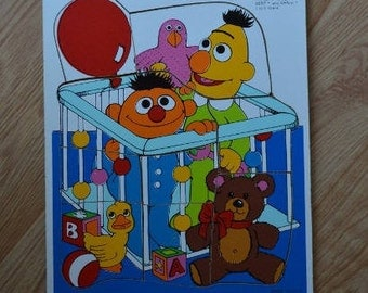 Vintage Playskool Sesame Street Bert and Ernie in Play Pen Wood Tray Puzzle 315-25
