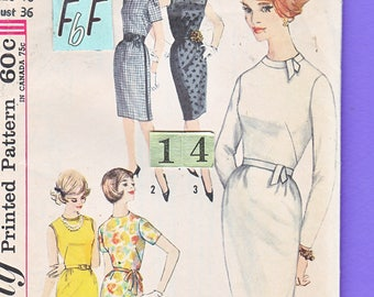 1960's Easy, High Neckline Shift Dress Sewing Pattern/ Simplicity 4518 Mid Century Women's Dress/ Size 14 Bust 36