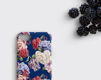 Rose iPhone 7 Case, Lilac iPhone 6S Plus Case - Flowers iPhone SE Cover, Floral Samsung Galaxy S8 Plus Case, Blue Flower Galaxy S7 Edge Case