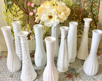 Milk Glass Vases Wedding Centerpiece Vases for Wedding Vases Vintage Milk Glass Bud Vase White Vases Bulk Vases Bridal Shower Centerpiece