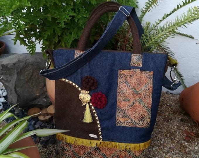 Suitcase in fabric, bag, handbag, cork, Burel, heart of Viana, handmade, made in Portugal, return to lessons, handbag, handbag, lady purse, suitcase