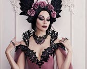 Couture Gothic Wedding Gown ~ Beaded Overbust Corset ~ Haute Goth Dress Vampire Ball Masquerade Costume ~ Halloween Bridal Outfit Corsets