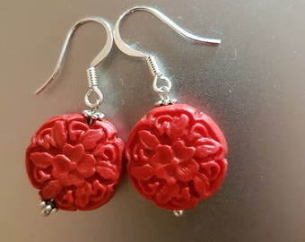 Red Floral Resin Beads