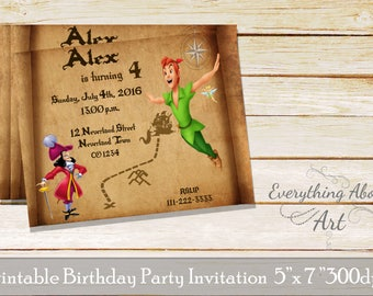 Peter Pan Birthday Invitation,  Peter Pan Invitation, Peter Pan birthday invites,  Captain Hook birthday, Neverland Map birthday invitation
