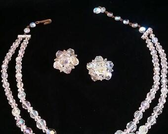 1950'S Vintage Rainbow Aurora Borealis Necklace and Clip on Earrings Mid Century