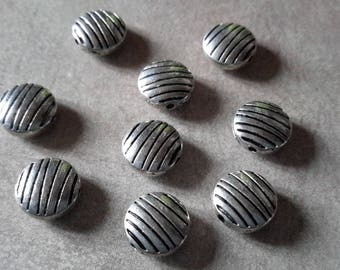 Round spacer beads, ethnic beads, scratches, Puck, silver, Metal beads beads 10 x 5 mm
