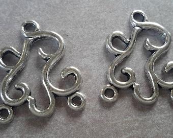 2 pcs, chandelier earring - ethnic boho - branch spiral volute - silver - 27 x 23 mm