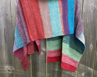 "Gift Clothing Soft and Cozy, Striped Wool Shawl/Wrap, 50x20"" Handmade Unique"