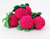 Crochet raspberry (1 pc) Crochet play food Pretend food Amigurumi play food Amigurumi berries Kids play food  Crochet play kitchen Play food