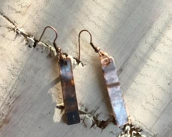 Rustic Drop Copper Earrings