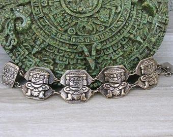 Gorgeous Sterling Silver Patina Vintage Inca Imagery Bracelet