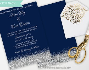 Navy And Silver Glitter Wedding Suite | Wedding Invitation | Wedding | Navy  And Silver |