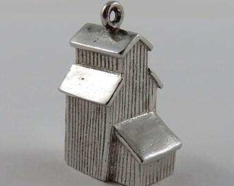 Prairie Barn Grain Silo Sterling Silver Vintage Charm For Bracelet
