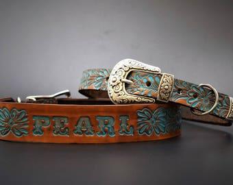 Leather Dog Collar ( Western Dog Collar ~  personalized leather dog collar ~ turquoise dog collar ~ 1950s name on belt ) the Diamond Dogs
