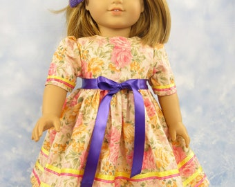 18 Inch Doll Clothes Dress, Pink, Yellow, Purple Garden Dress for American Girl Doll