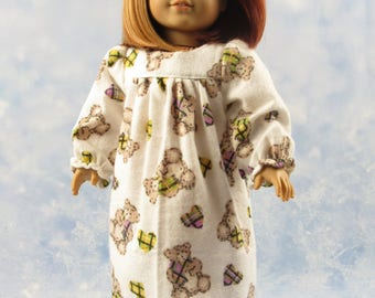18 Inch Doll Clothes Dress  White, Brown, Flannel Nightgown for American Girl Doll