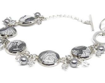 Grey Rose Bracelet with Swarovski Pearls and Crystals