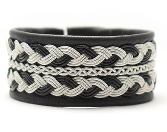 Swedish Sami Bracelet of pewter thread with 4 % silver, and reindeer leather - LAVA