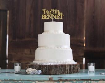 Mr And Mrs Cake Topper, Custom Wedding Cake Topper, Custom Name Wedding Cake Topper, Wedding Cake Topper