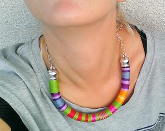 Boho Necklace, Colorful Necklace, Thread Wrapped Necklace, African Necklace, Boho Necklace, Choker, African Jewelry, Thread Necklace, Gift