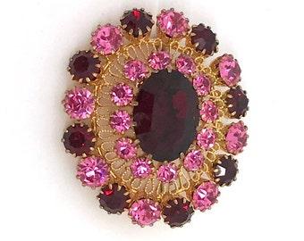 Vintage Rose-Burgandy Rhinestone Brooch