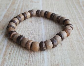 Wood Bead Bracelet  FREE US SHIPPING Chocolate Bracelet Boyfriend Bracelet Boho Beach Boho Men Bead Bracelet for Men Surfer Bracelet