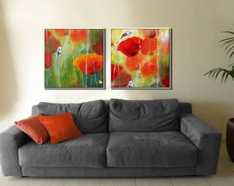 Colorful Paintings, Wall Art Set, Canvas Set of 2, Red Flowers Art, Red Flower Art, Wall Canvas set, Flower Canvas Art, Colorful Artwork,